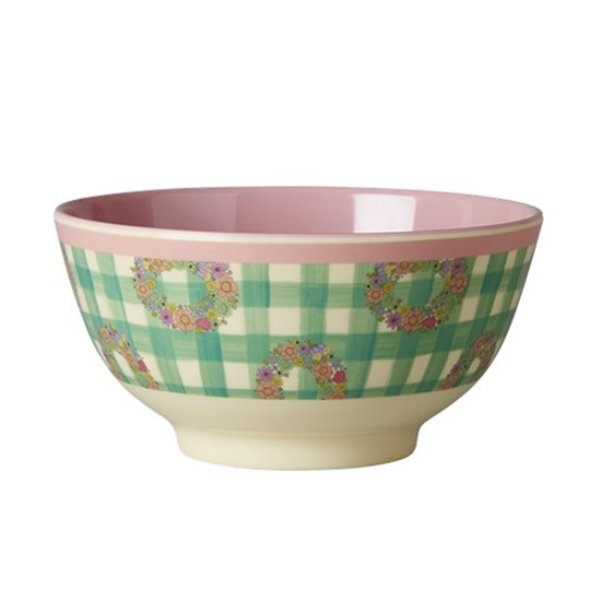 Rice Small Melamine Bowl with Vichy Print