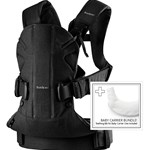 BabyBjörn Baby Carrier One (Black,CottonMix) with Bib for BC One Tencel (Hvid)