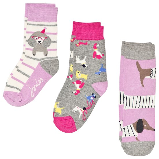 Joules Purple and Grey 3 Pack Character Socks