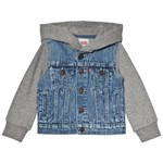 Levis Kids Mid Wash Denim Trucker Jacket with Sweat Sleeves and Hood