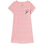 Joules Pink and White Stripe Parrot Print Dress