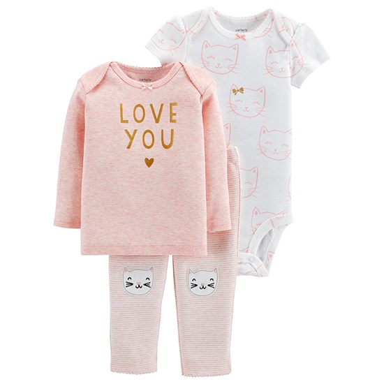 Carter's Lbb 3Pc Knee Tma Girl Pink Love You