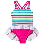 Lands' End Multi Rainbow Stripe Skirt Swimsuit