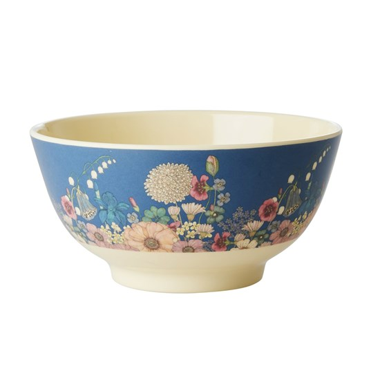 Rice Melamine Bowl with Flower Collage Print Medium