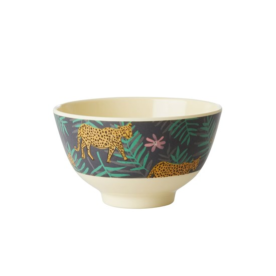 Rice Melamine Bowl with Leopard and Leaves Print Small