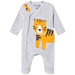 Frugi Stevie Swoop Footed Baby Body Grey Marl/Tiger