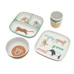 sebra Bamboo melamine dinner set 4 pcs Wildlife
