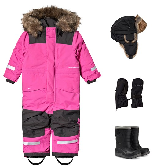 Didriksons Didriksons Björnen Winter Coverall and Winter Boots and Accessories Pink