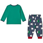 Frugi Green and Navy Organic Christmas Pyjamas with Farm Animal Appliques