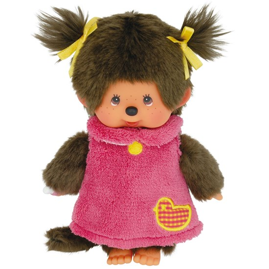 Monchhichi Fluffy Applique One Piece Girl Pink 20 cm