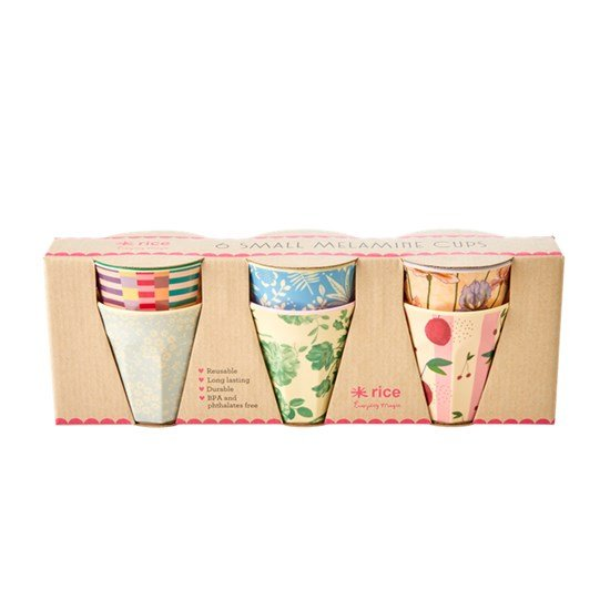 Rice Melamine Cups with Assorted ´Let´s Summer´ Prints S 6 pcs